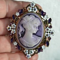 Flower Frame Brooch Women Cameo Purple Stone Vintage Style Pin Broach Lady Gift