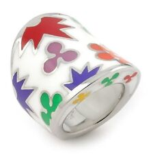 ALAN K DESIGNO COLLECTION LARGE RING MULTICOLOR ENAMEL RESIN & 925 ST/SILVER.NEW