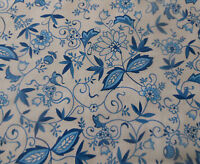 Vintage Retro Delft Vining Floral Cotton Percale Fabric ~ Blue Onion China