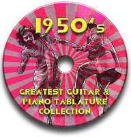1950's 50's POP ROCK N ROLL GUITAR & PIANO TAB TABLATURE ANTHOLOGY SOFTWARE CD