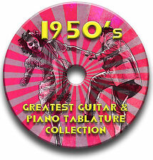Années 1950 50's pop rock n roll Guitare & Piano onglets tablature song book cd de logiciels