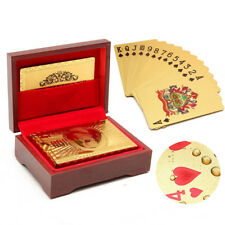 Gold Plated Waterproof Playing Cards Poker Card Deck + Wooden Box Certificate