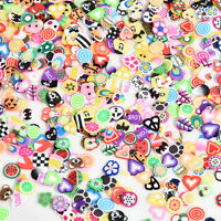 DIY Nail Art Tips Sticker Decoration 3D Fruit Animals Fimo Slice Clay 1000pcs YK