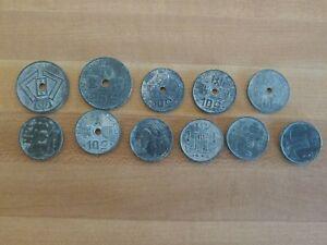 12 Coin Belgium Lot 1942-1945