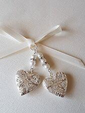 Wedding Bouquet Photo Charm Double Silver Filigree Locket Charm ivory pearls