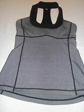 Lululemon Scoop Neck Tank Top w/Mesh Back Black Wee Stripes Gray sz 8 Yoga Spin