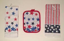 Americana Patriotic Stars and Stripes Flag 3 pc kitchen towels potholder set