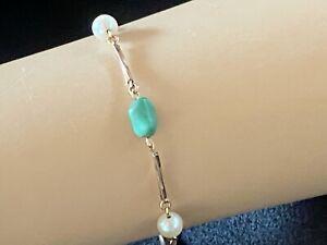 9K Gold, Cultured Pearl & Jade Bracelet, Vintage