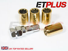 Gold Tuner Locking Nuts x4 12x1.25 Fits Nissan Almera NV200 Tiida Cube Murano