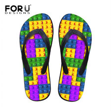 Colorful Plaid Slippers Mens Comfy Flat Flip Flops Non Slip Sandals Beach Shoes