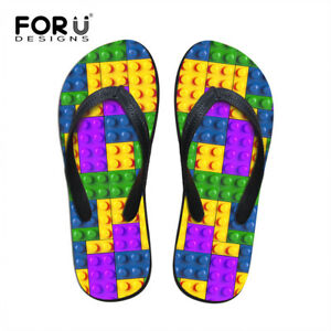Colorful Plaid Slippers Mens Comfy Flat Flip Flops Non Slip Sandals Beach Shoes