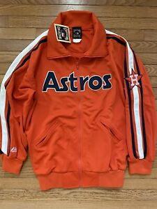 Majestic Authentic Cooperstown Houston Astros Jacket Jersey Large Stitched New