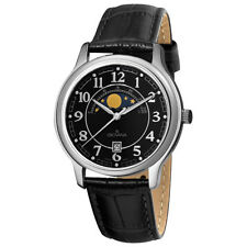 Grovana Men's Black Moonphase Dial Black Strap Swiss Quartz Date Watch 1026.1537
