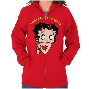 Classic Original Betty Boop Vintage Cartoon Women Zip Hoodie Jacket Sweatshirt