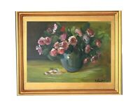 Print of Original oil painting art floral soft roses impressionism shabby chic