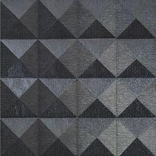 3D illusion black gray silver geometric pyramid triangle textured Wallpaper roll