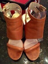 Michael Michael Kors Tan LeatherDouble Buckle Strappy open toe Heels Shoe Sz 6.5