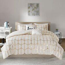 Ivory Gold Metallic Geo Love 5 pc Comforter Set Twin XL Full Queen Cal King Bed