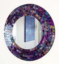 ROUND Viola Rosa Specchio da parete a mosaico 40 CM-FATTO A MANO A BALI-NUOVO