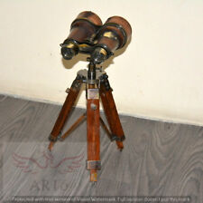 ANTIQUE VINTAGE MARITIME BINOCULAR COVERED WITH LEATHER WITH WOODEN TRIPOD STAND