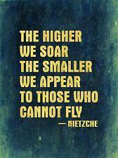 Superior Soar pequeños aparecen Fly Nietzche citar la tipografía azul arte cartel qu258a