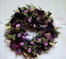 artificial flower wreath purple  orchid, rose, lavender, heather home decor