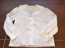Damen Bluse Oberteil weiß großer Kragen Vintage Gr. 42 von Karisbader Bluse