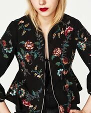 Zara Black Floral Sequin Embroidery Jacket Blazer Size Small