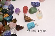wholesale Fashion Assorted Natural Irregular stone Silver P Pendants Bead 40pcs