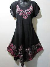 Dress Fits 1X 2X 3X Plus Black Pink Batik Art A Shape Embroidery Tunic NWT J465