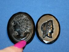 Two Vintage Cameo Pins mad in Czechoslovakia