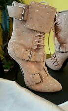 new  Giuseppe ZANOTTI blush suede ALL CRYSTALS platforms ANKLE BOOTS  SEXY Sz 39