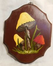 Vintage Mod 70's Hanging Wooden Plaque Mushroom Painting Wall Art Mid Century