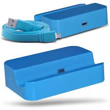 Azul Micro USB Escritorio Base De Carga & Cable Datos Para Samsung Galaxy Alpha