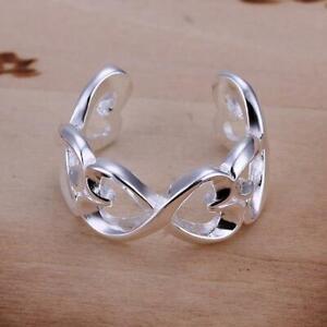 925 Sterling Silver Heart Ring Adjustable Thumb Finger Love UK Seller