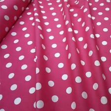Cerise Pink Polycotton Fabric with Large 25mm White Spot *Per Metre*