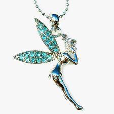 w Swarovski Crystal  Aqua Blue ~TINKERBELL~ Fairy ANGEL Jewelry Pendant Necklace