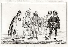 COMMEDIA DELL'ARTE 2: Maschere:Costumi: Pantalone,Pulcinella. Stampa Antica.1835