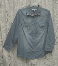 CHAMBRAY FAUX BLUE JEAN DENIM WESTERN TOP SHIRT BLOUSE CARDIGAN~1X~0X~XXL~XL~NEW