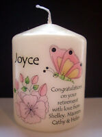 personalised flower candle gift retirement new job congratulations thank you