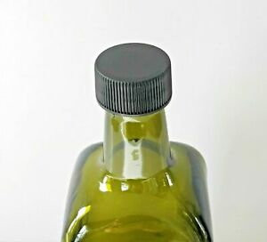 1 litre Green Glass bottles with Black Plastic Screw on Lid. Used.