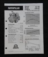 1996 GENUINE CATERPILLAR C-10 370hp DIESEL TRUCK ENGINE SPECIFICATION BROCHURE