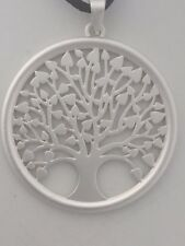 Tree of life matt silver metal pendant on faux suede cord necklace