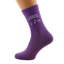I'd Rather Be Playing Music with Music Note Image Printed on Ladies Purple Socks