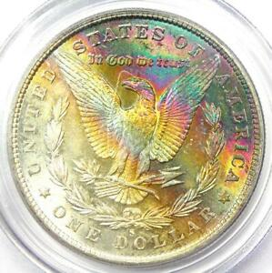 1880-S Toned Morgan Silver Dollar $1 Coin - Certified PCGS MS63 - Rainbow Toning