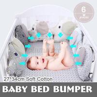 6PCS/SET Baby Bed Bumper Infants Elepants Nursery Crib Bedding Cradle Protection