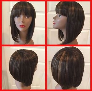 LMRA182  pretty short brown mix straight women's hair wig wigs for women