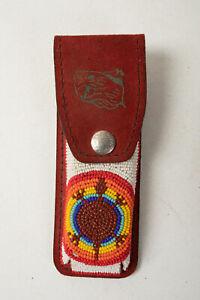 Schrade Beaded Knife Holder Turtle (R3D) Pocket Knife Red Suede Leather