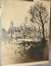 Superbe grand dessin à l' encre, fleuve, ville -
