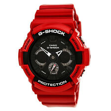 Casio G-Shock Men's Analog and Digital 200m Red Resin Black Dial Watch GA201RD-4